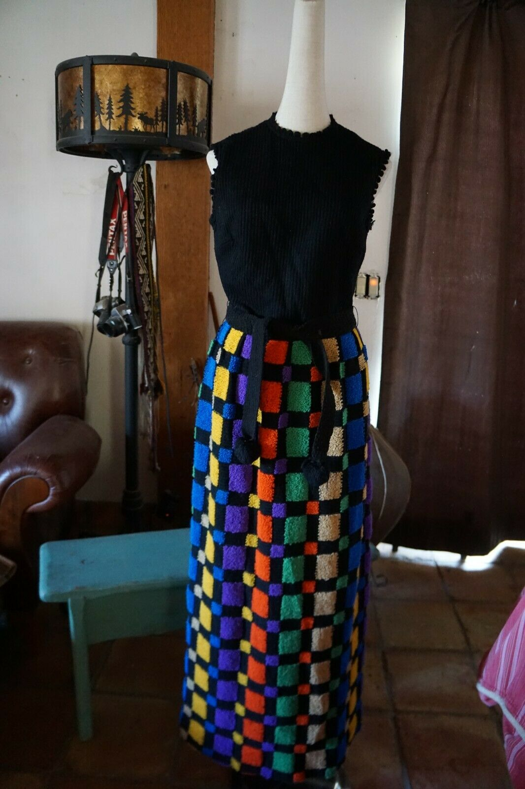 Vintage PARADE New York Top Form Fitting Sweater Style Long colorful Dress S 10