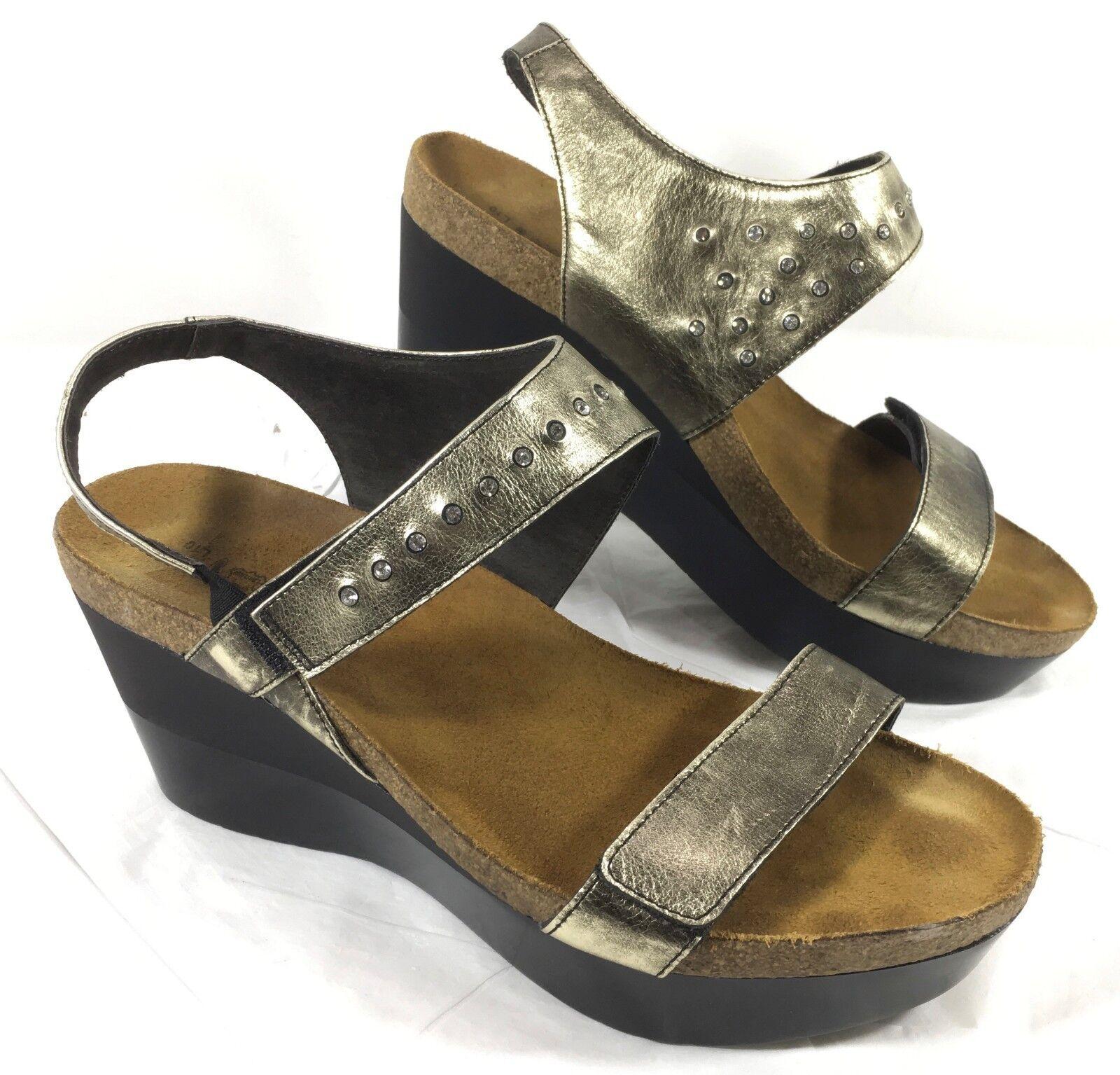 EUC NAOT PRODIGY Platform Pewter Metal color Sandals   heels Sz 41 US 10