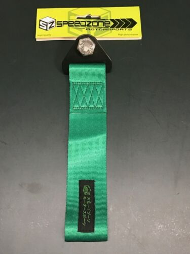 GREEN SPEEDZONE UNIVERSAL JDM TOWING ROPES STRAP FRONT REAR BUMPER