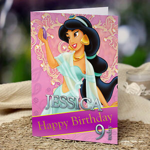 Extra Large Jasmine A4 Size Personalised Birthday Card Aladdin