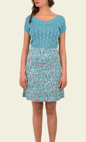 King Louie Rock blau Border Skirt Bohemian Türkis Blumen zarte Muster Flowers