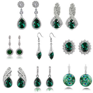 Christmas-Collection-of-emerald-green-crystal-rhinestones-drop-dangle-earrings