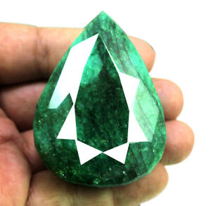 653ct-Natural-Faceted-Pear-Shape-Cut-Faceted-Green-Emerald-Loose-Gemstone-Gems