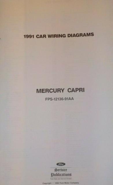1991 Mercury Cpri Electrical Wiring Diagrams Ewd Manual
