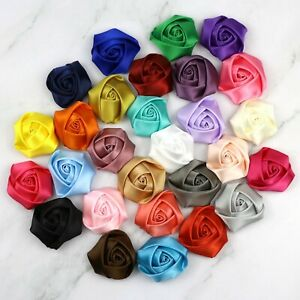 100Pc-40mm-Rose-Satin-Fabric-Flower-Craft-Headband-Appliques-craft-Wedding-Decor