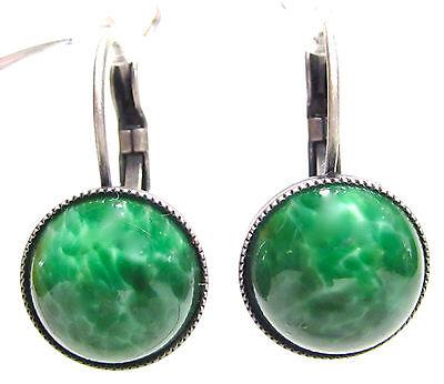 SoHo Ohrhänger altsilber vintage böhmisches Glas 1960´s 12mm jade grün