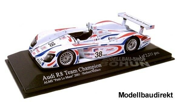 Audi r8 ALMS Petit Le Mans 2001 HERBERT Wallace 1 43 MINICHAMPS 400010938 neu&ov