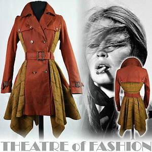 TOPSHOP-VINTAGE-TRENCH-RIDING-COAT-TWEED-40s-50s-FEMME-FATALE-VICTORIAN-MISTRESS