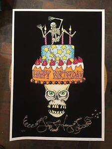 Image Is Loading DANCING SKULL BIRTHDAY CAKE Fine Art Giclee Print