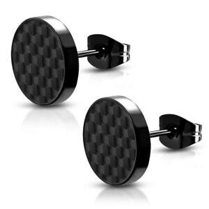 Fabrik Kauf authentisch Genieße den reduzierten Preis Details zu 1Paar Damen Design Ohrstecker Ohrringe Carbon Edelstahl Schwarz  Rund 10mm