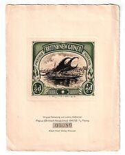 Papua: 1/2d Auslegerboot Original-Radierung Ludwig Heßhaimer, Selten