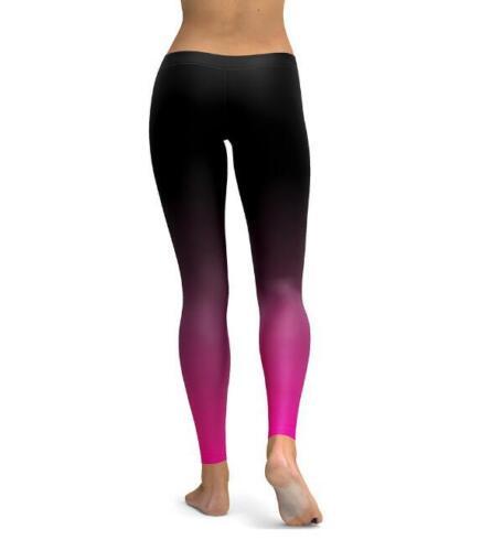 Woman elastic legging Gradient Black Pink printed legging S-4XL Slim legging