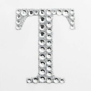 "LETTER I 2/"" 5cm Large Craft Diamante /& Silver Glitter Stick On Self Adhesive"