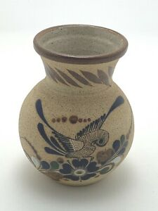 Vintage-Mexican-Pottery-Tonala-Vase-Hand-Painted-Folk-Art-Bird-Ceramic-7-1-2