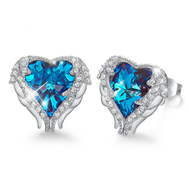 1.89 CT HALO HEART BLUE SAPPHIRE STUD EARRINGS 18K White Gold Plated