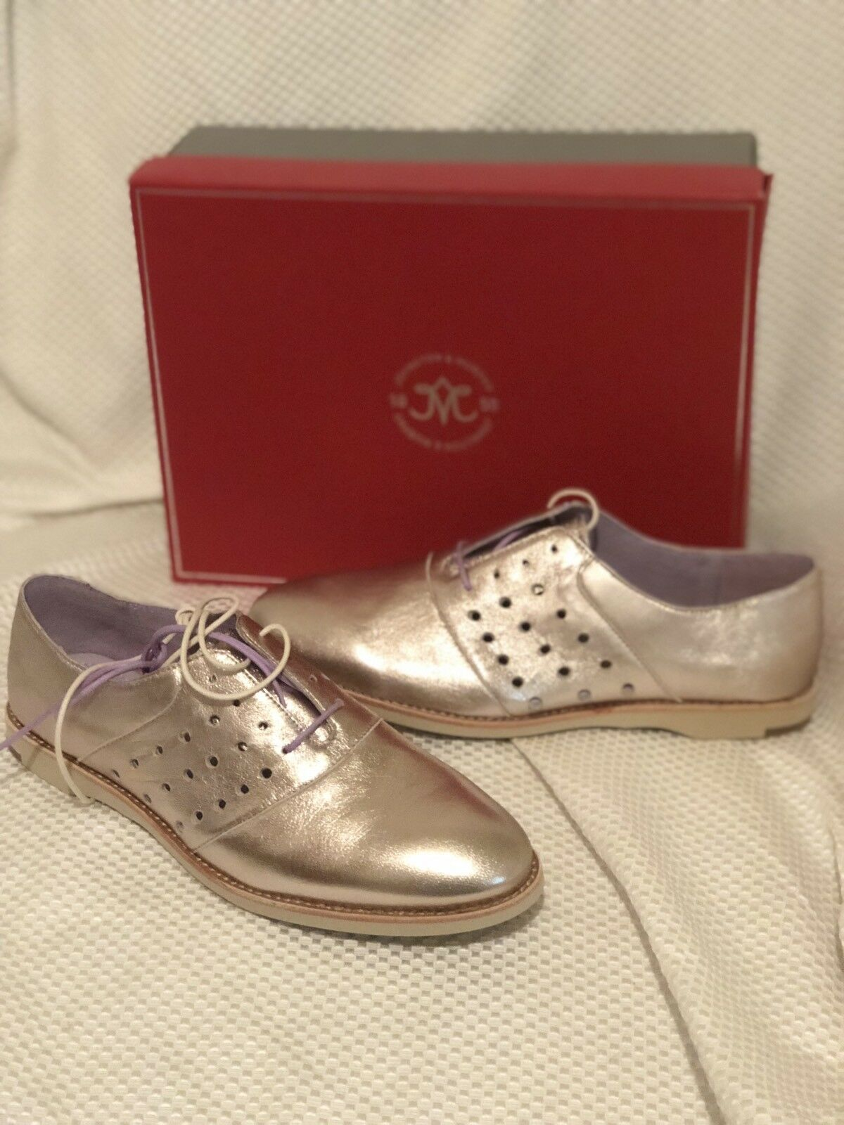 NIB  158 Johnston & Murphy- Champagne Perforated Leather Oxford schuhe- Sz 9.5 M