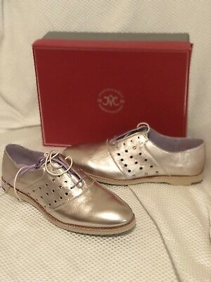 Sz 9.5 M Rapture Nib $158 Johnston & Murphy Champagne Perforated Leather Oxford Shoes