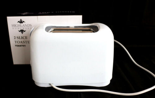 2 Slice Toaster WHITE Electric Bread Browning Control Warming Kitchen Appliance