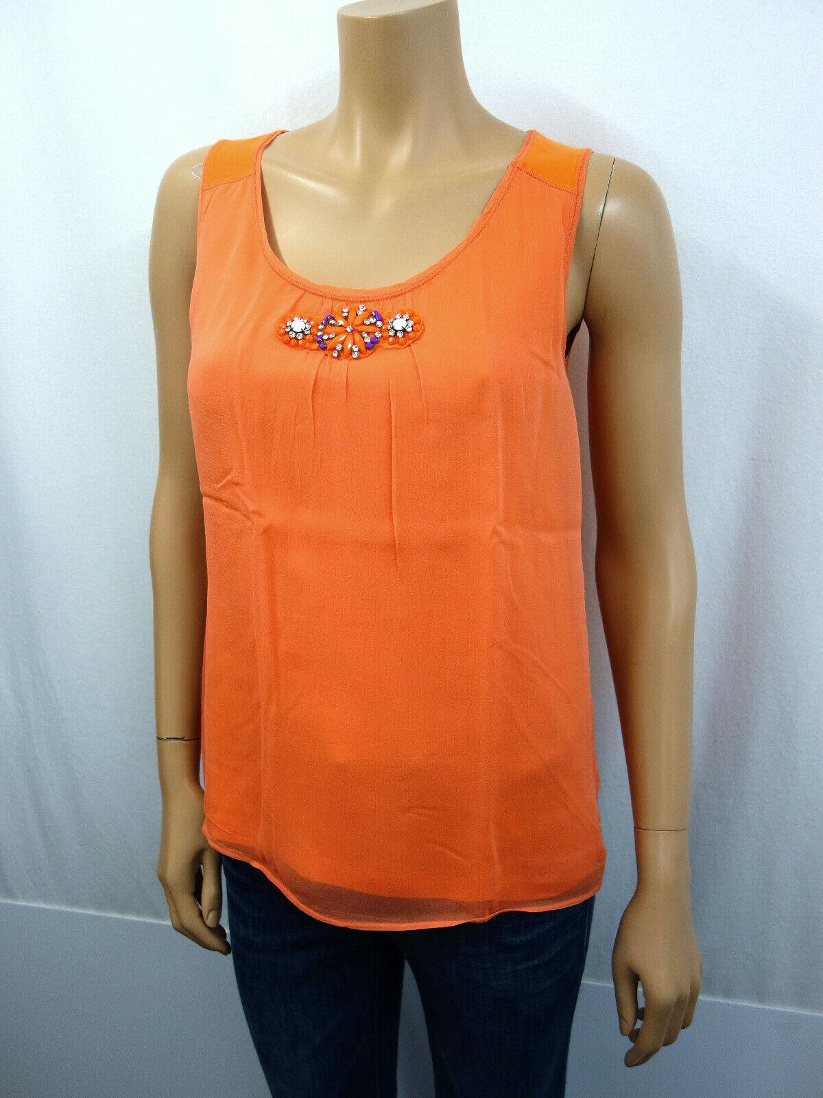LAURÈL Designer Seidentop Top Shirt Gr.36 100% Seide Schmucksteine Strass Orange