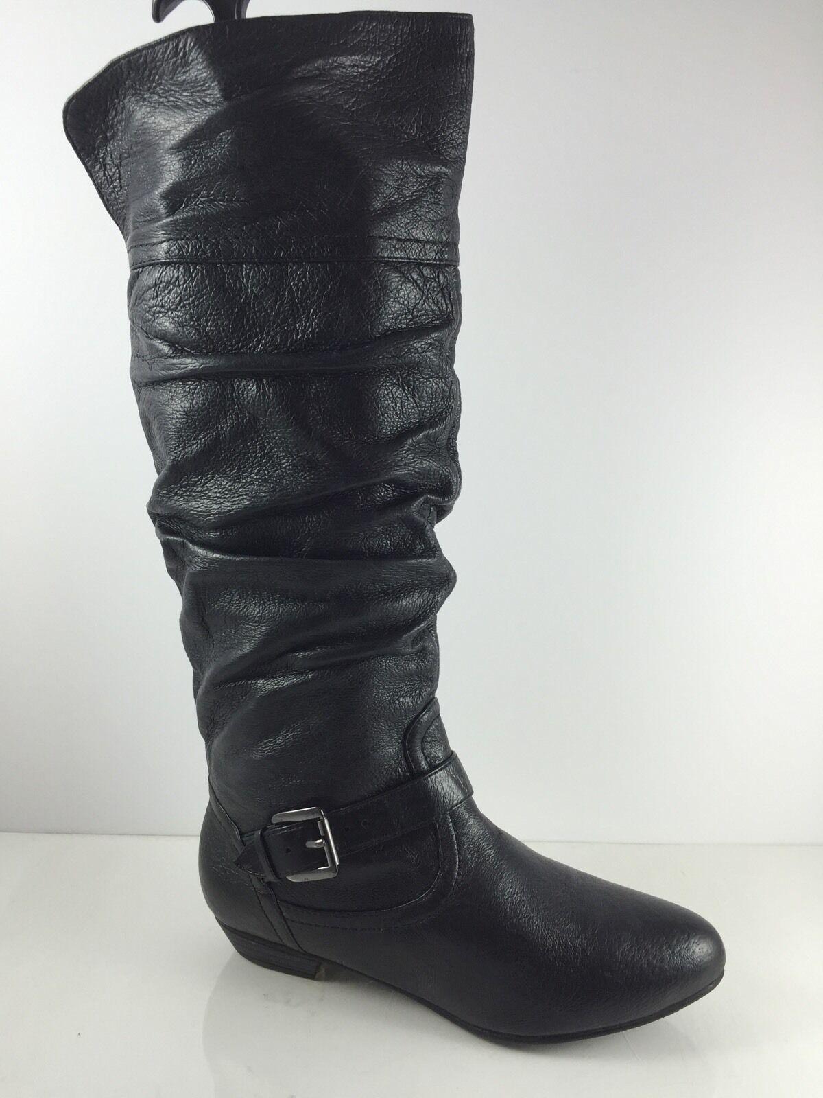 Steve Madden Womens Black Black Womens Leather Knee Boots 6 M eec187