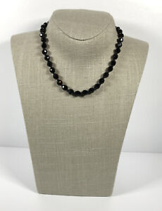 Vintage Necklace Collar/Choker Length Faceted French Jet Glass Beads Pretty Gift