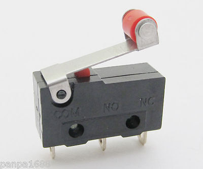 10pcs 20*10mm Mini Micro Switch Roller Lever Limit Switch Normal Open//Close 5A