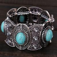 Damen Retro Natural Türkis Armband Tibet Silber breit Armreif Schmuck Neu