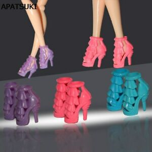 10 Pairs High Heeled Shoes For   Doll Girls Christmas Gift Random Color *