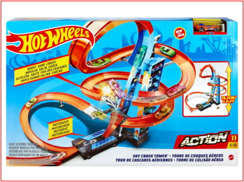 Hot Wheels SKY CRASH TOWER 2.5/' Track Set Motorized Action Stunts Jumps 1 Car