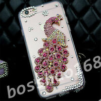 Glitter Luxury Bling pink gems peacock Diamonds Soft Case Cover for HTC