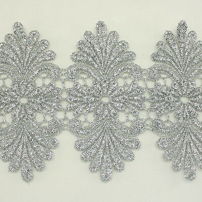 "4.2"" Metallic Rayon Embroidery Lace Trim Metallic Bridal wedding Unique lace"