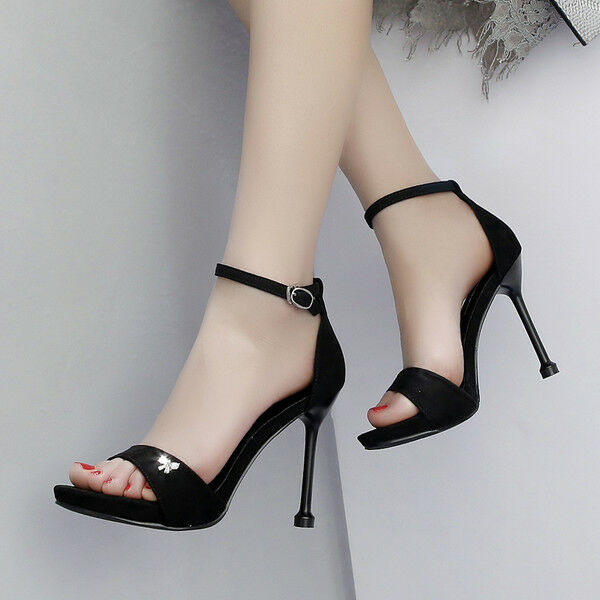 Sandale stiletto eleganti tacco 12 cm nero velluto  simil pelle eleganti 1044