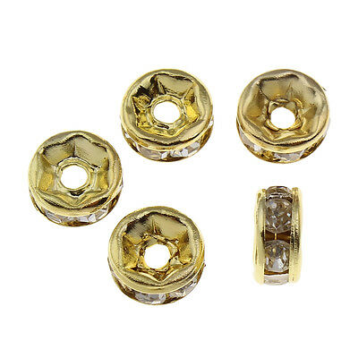 150 Glas Strass Rondell Spacer perlen 6mm GOLD FARBE KLAR CRYSTAL DIY R172C#3