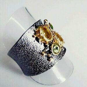 Unikat Saphir Chrom Diopsid Peridot Band Ring 925 Black Rhodium Gold 19,4 mm 61