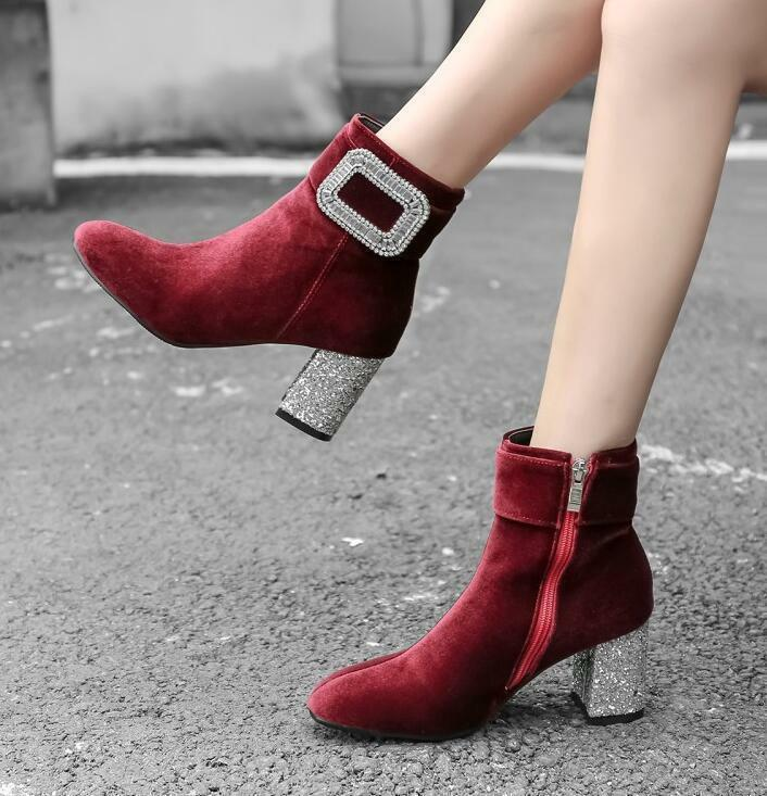 Women Square Toe Suede Ankle Boots Rhinestone Sequins High Stacked Heel shoes SZ