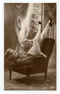 1920s Risque n/ Nude French RPPC Real Photo Postcard SASSY