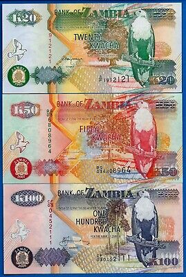 20+50+100 Kwacha P-36 37 38 Eagle Zambia Set 3 PCS UNC