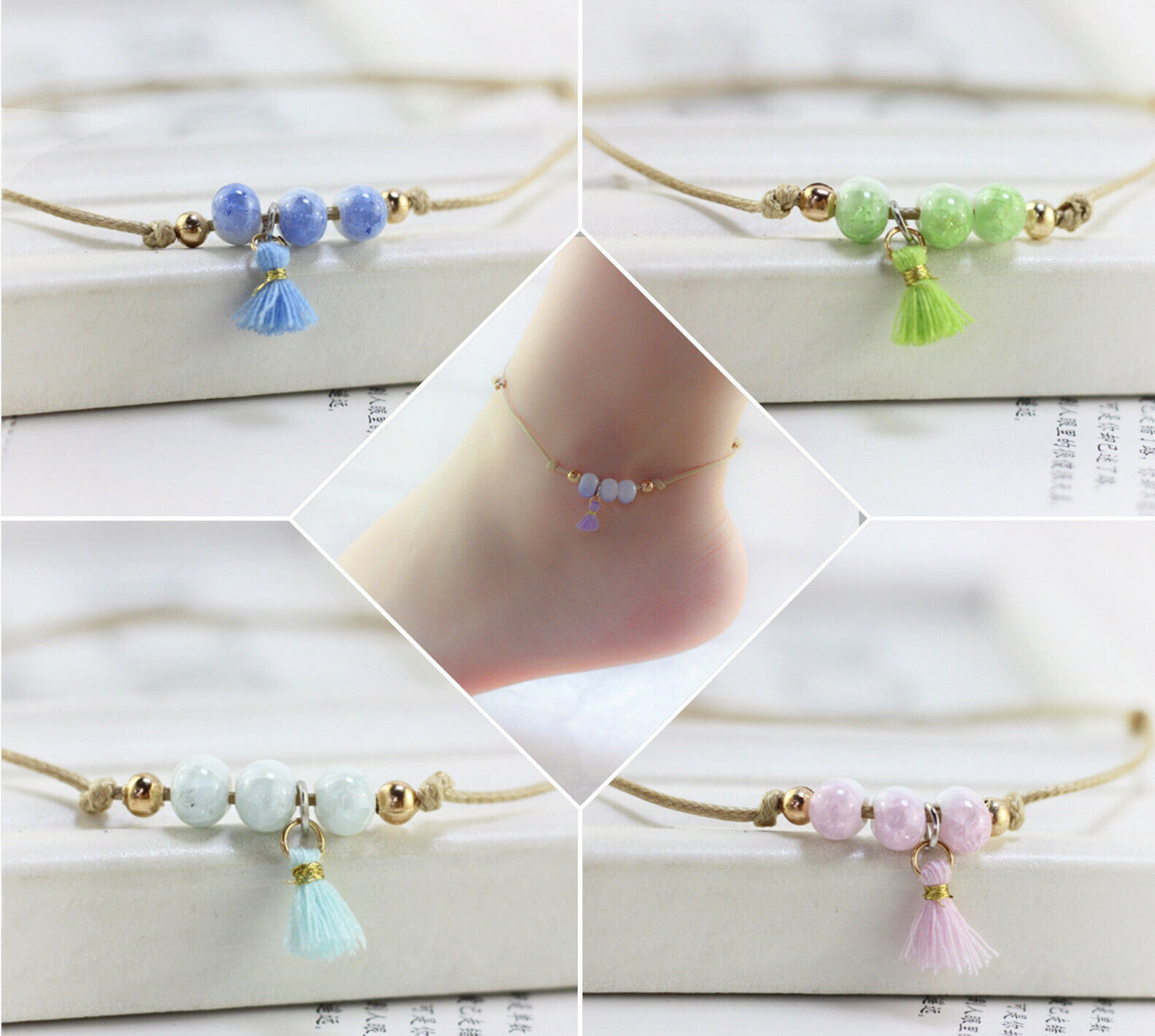 Anklet Ankle Bracelet Ceramic Bead Jewellery Gold Silver Adjustable Foot Chain