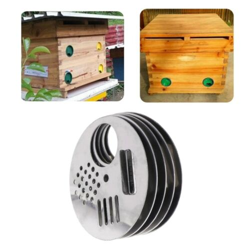 5X Bee Box Door Cage Stainless Steel Round Hive Hole Anti-escape Beekeeping Nest