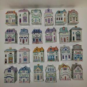 1989-Lenox-Spice-Village-Houses-Fine-Porcelain-Complete-Set-of-24-Spice-Jars