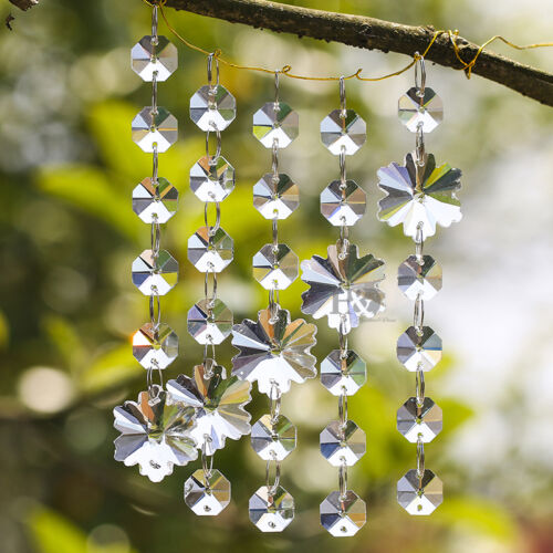 Clear Crystal Chandelier Prism Lamp Snowflake Octagon Bead Chain Wedding Pendant