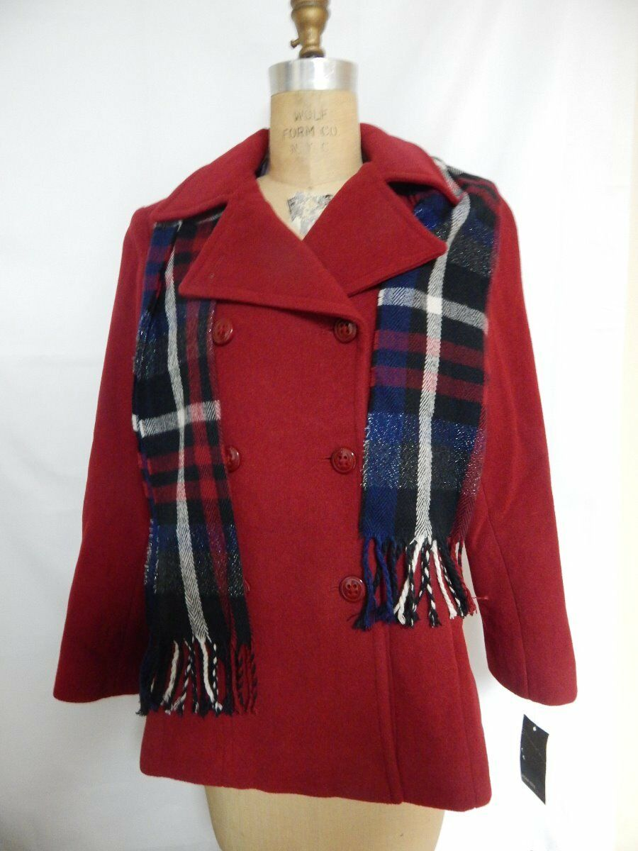 Jason Kole Double Breasted Peacoat with Scarf  M Ruby Red NWT