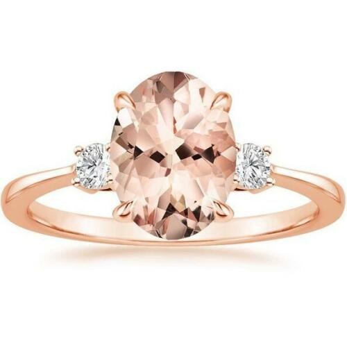 Fashion 925 Argent Ovale Cut Morganite Gemstone Wedding Engagement Ring Wholesale