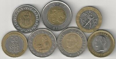 ARGENTINA to VENEZUELA Lot #1 10 BI-METAL COINS from 10 DIFFERENT COUNTRIES