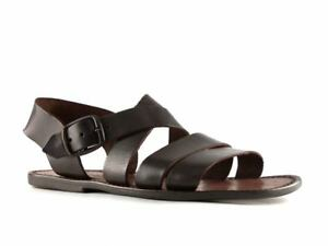19b484e40812d HANDMADE MENS FLAT STRAPPY SANDALS IN DARK BROWN LEATHER MAN MADE IN ...