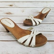 Ann Taylor Open Toe Slip On Studded White Leather Faux Wood Heels Womens Size 8