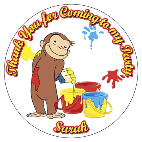 Personalised Curious George Stickers Birthday Party Thank You Cones Bag Labels
