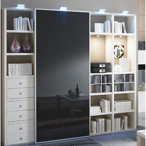 toro wohnwand schrankwand b cherregal bibliothek regal schiebet r individuell ebay. Black Bedroom Furniture Sets. Home Design Ideas