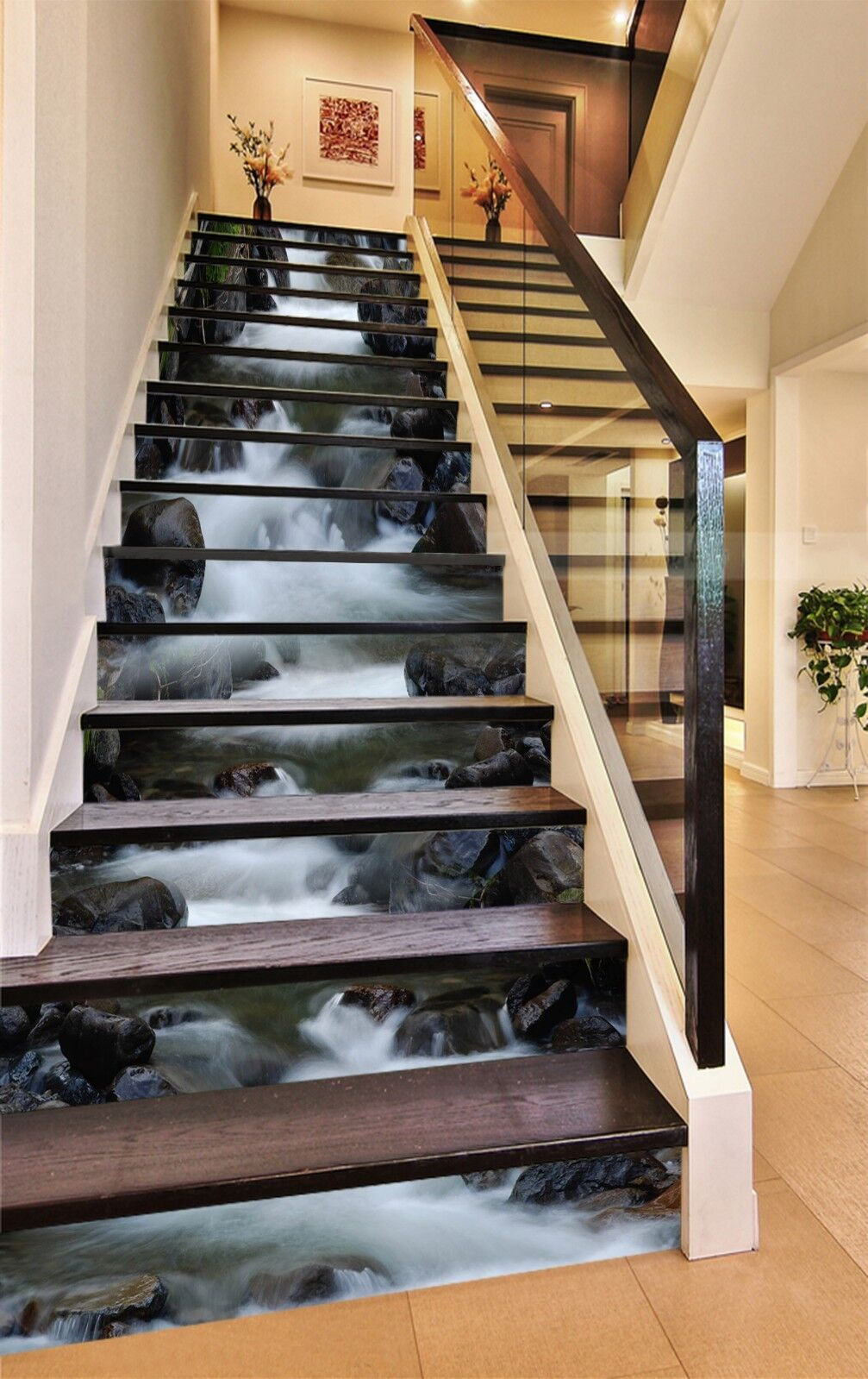 3D Stone water 5 Stair Risers Decoration Photo Mural Vinyl Decal Wallpaper UK
