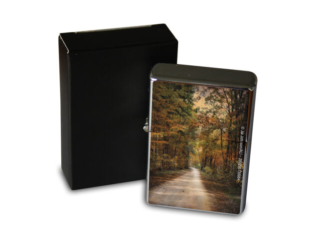 Chrome Windproof Lighter Oil Refillable Fun Kitchen Forest road